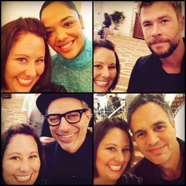 Selfie collage Thor Ragnarok Tessa Thompson, Chris Hemsworth, Jeff Goldblum, Mark Ruffalo