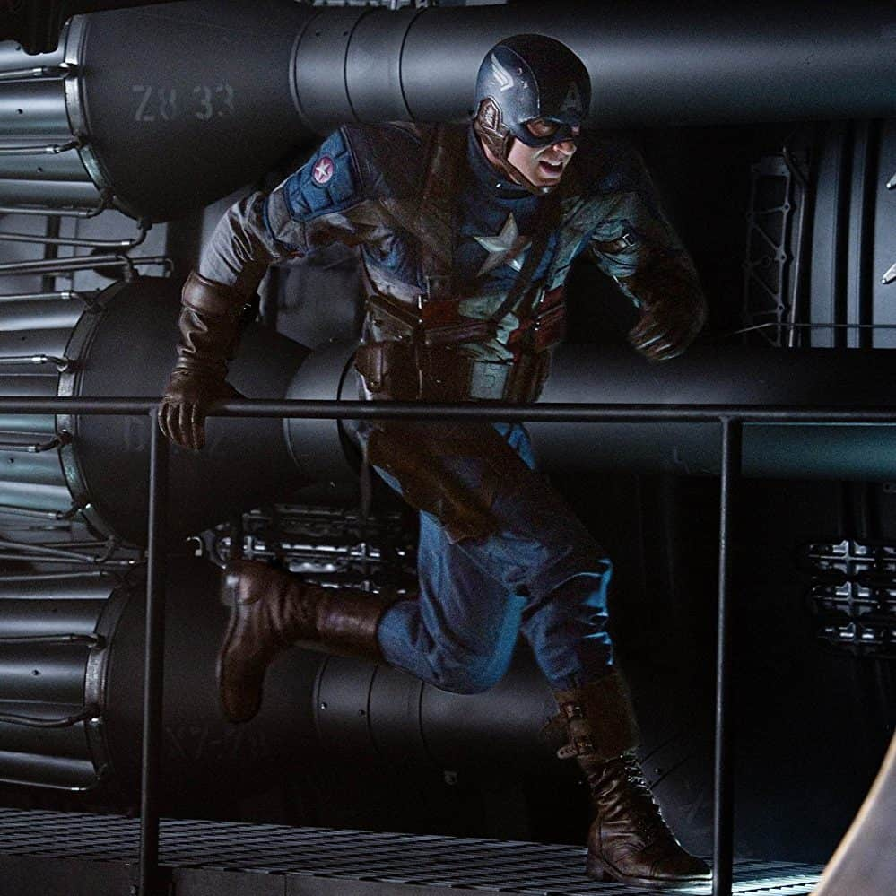 Captain America the First Avenger running - put this first on the best order to watch the marvel movies