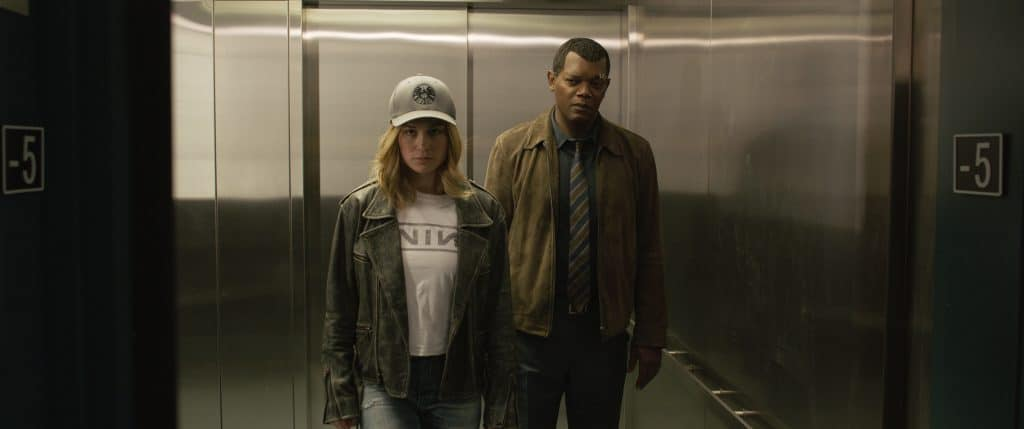 Carol and Fury in Captain Marvel Elevator scene. A sequel might be up in the next marvel movie lineup