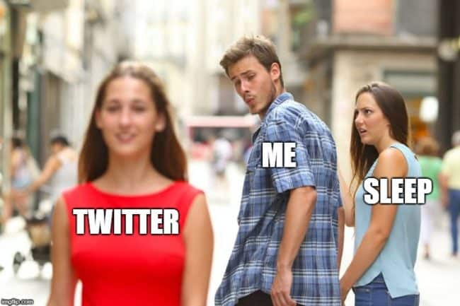 distracted boyfriend sleep and twitter