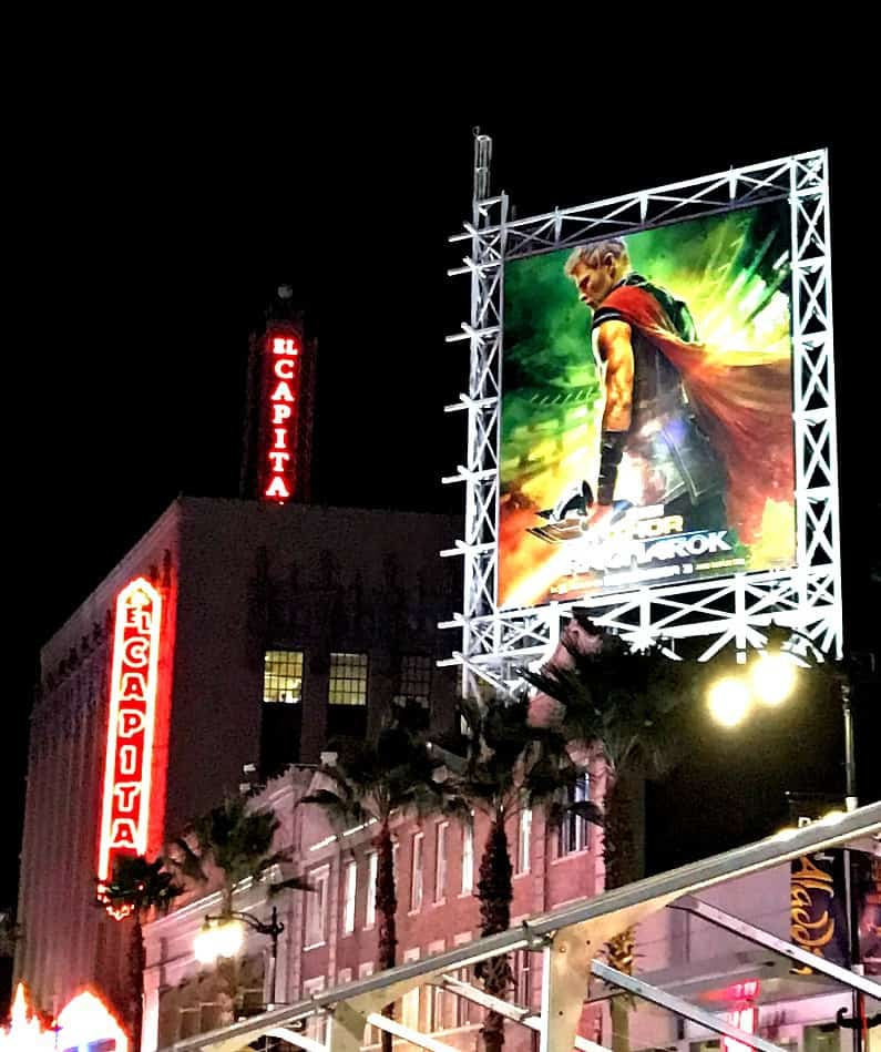 el capitan theatre in hollywood with Thor: Ragnarok poster