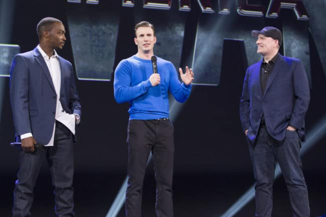 D23 Expo 2015 Chris Evans and Anthony Mackie and Kevin FEigie talking about Civil War