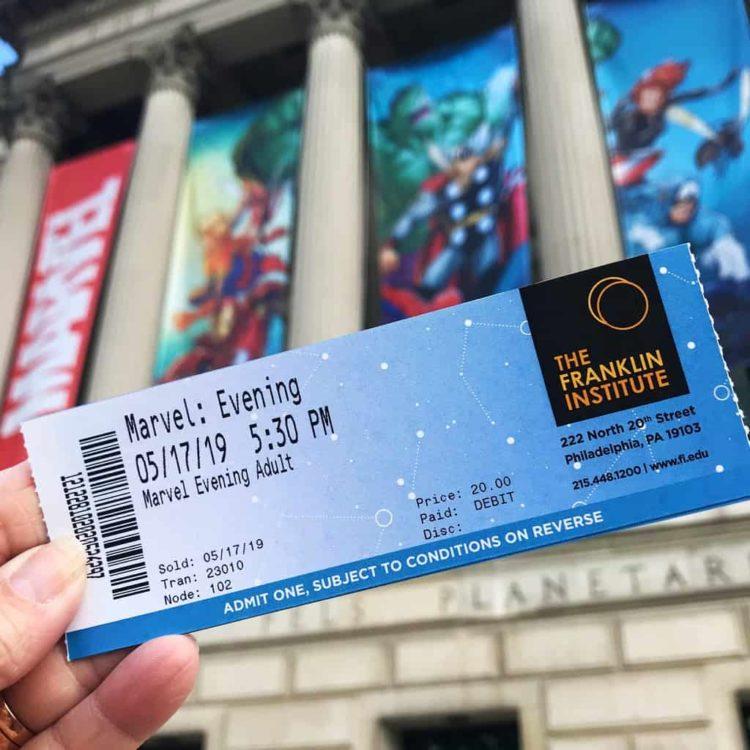 Marvel universe of super heroes exhibit ticket