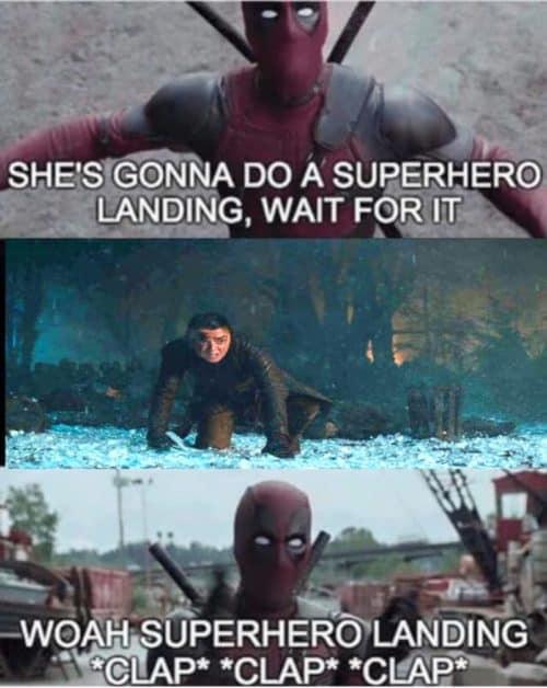 game of thrones memes superhero landing deadpool
