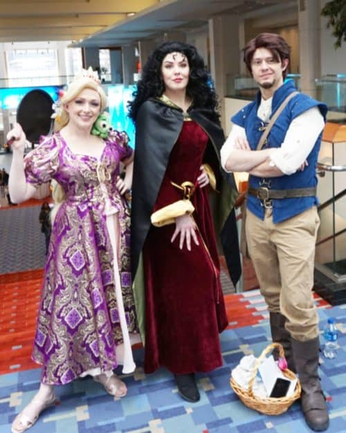 Rapunzel cosplay group at awesome con