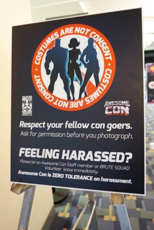 zero tolerance of harassment of cosplayer reminder- applies to professional cosplayer or casual fan alike