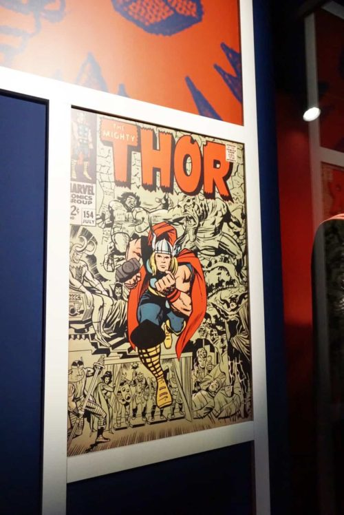 Thor comic book cover at Franklin Institute Marvel Universe of Super Heroes exhibit