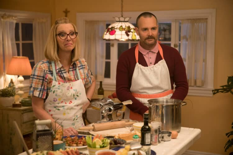 Lisa Kudrow stars as Charmaine and Will Forte as Doug in Booksmart parent movie review