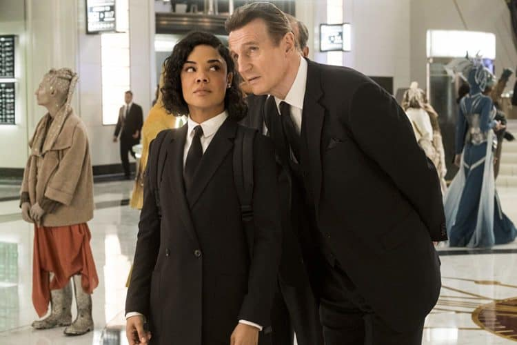 liam neeson and tessa thompson in men in black international movie review