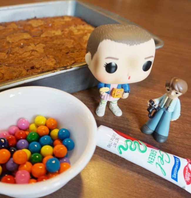 Stranger Things funko pops and alphabet wall brownies