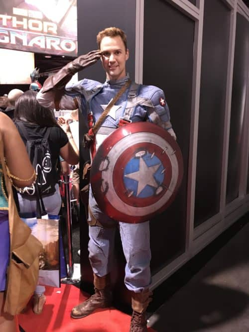 Captain America cosplayer at D23 Expo