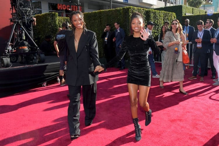Chloe Bailey (L) and Halle Bailey at the Lion King World Premiere