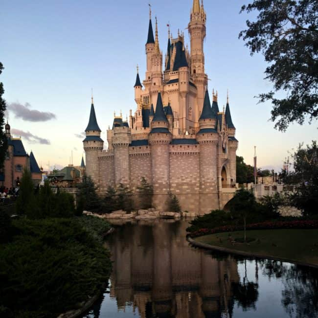 Walt Disney World Cinderella Castle at sunset