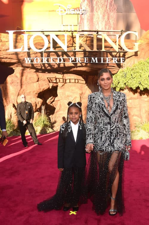 Blue Ivy Carter (L) and Beyonce Knowles-Carter Lion King Red Carpet