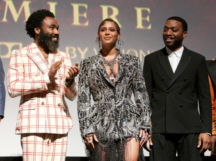 Donald Glover, Beyonce Knowles-Carter, and Chiwetel Ejiofor Lion King World Premiere