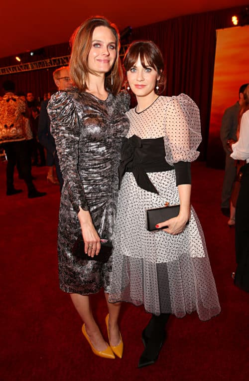 Emily Deschanel and Zooey Deschanel Lion King red carpet