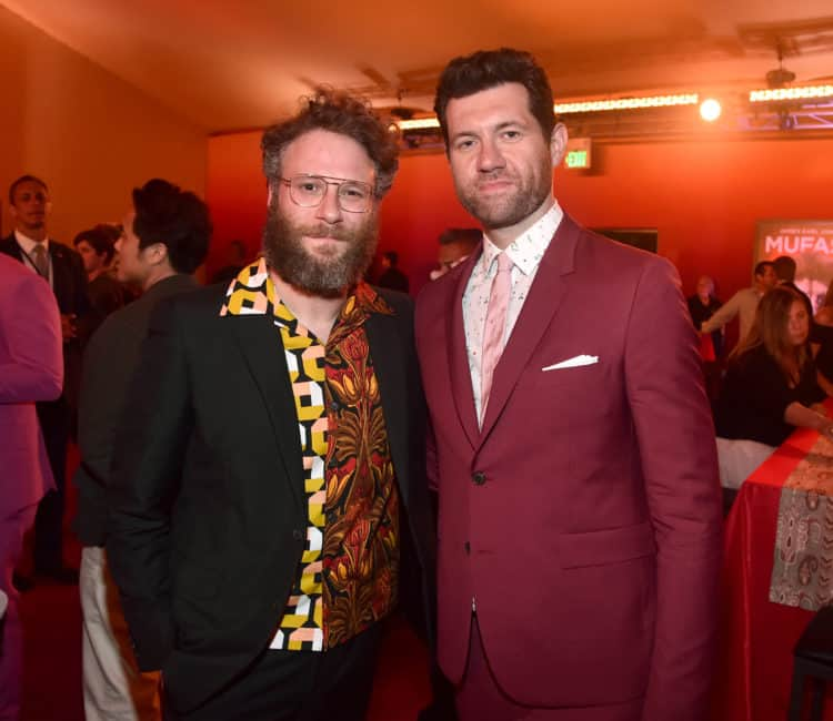 Seth Rogen (L) and Billy Eichner Timon and Pumba Lion King Red Carpet