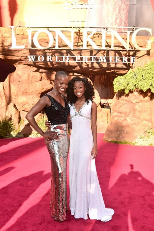 Lion King Red Carpet Florence Kasumba (L) and Shahadi Wright Joseph