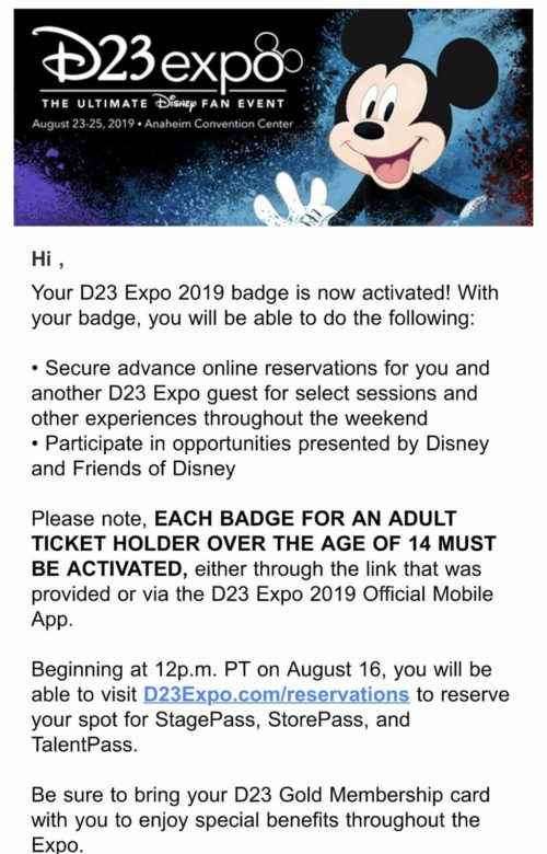 D23 Expo Badge Confirmation email