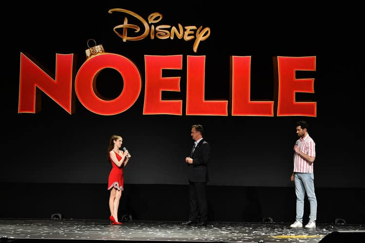 ANNA KENDRICK, SEAN BAILEY (PRESIDENT, WALT DISNEY STUDIOS MOTION PICTURE PRODUCTIONS), BILLY EICHNER d23 expo Noelle