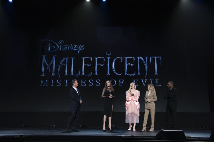 SEAN BAILEY (PRESIDENT, WALT DISNEY STUDIOS MOTION PICTURE PRODUCTIONS), ANGELINA JOLIE, ELLE FANNING, MICHELLE PFEIFFER, CHIWETEL EJIOFOR D23 Expo