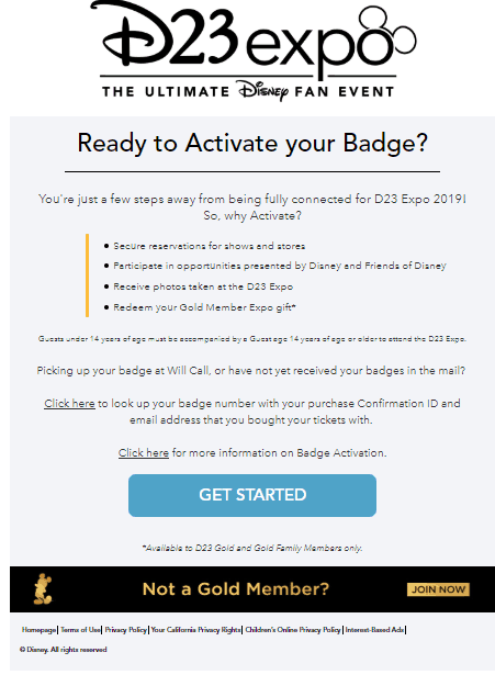 d23 expo badge activation landing page