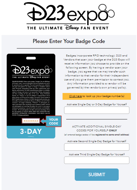 d23 expo badge activation screen 1