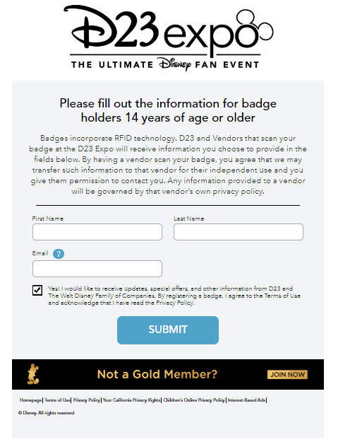 d23 expo badge activation screen 2