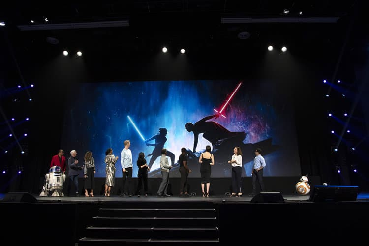 R2-D2, BILLY DEE WILLIAMS, ANTHONY DANIELS, KERI RUSSELL, NAOMI ACKIE, JOONAS SUOTAMO, KELLY MARIE TRAN, OSCAR ISAAC, JOHN BOYEGA, DAISY RIDLEY, KATHLEEN KENNEDY, J. J. ABRAMS, BB-8, R2-D2 Poster on stage at D23 Expo