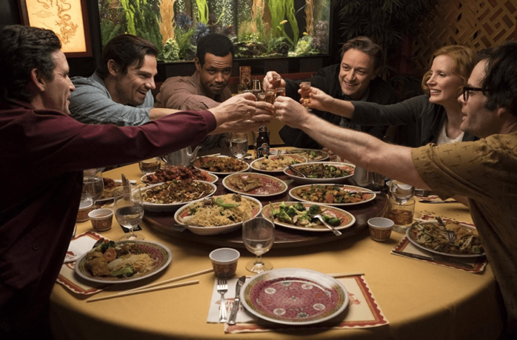 losers club IT Chapter 2 toasting over dinner