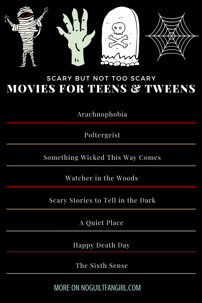 scary but not too scary movies for teens and tweens
