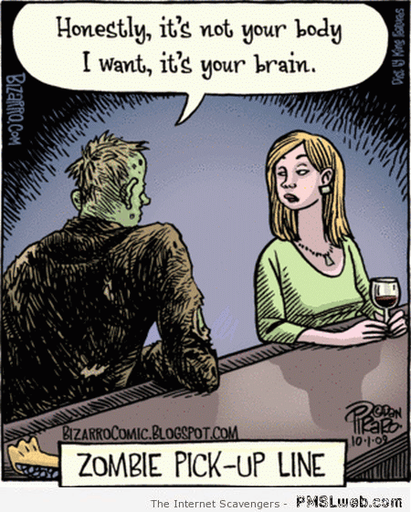 Zombie Meme dating pick up line about wanting brains