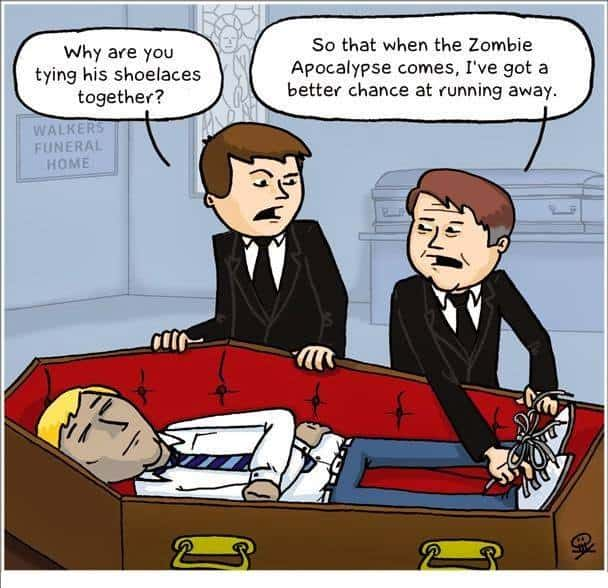 zombie meme tying shoes of guy in a coffin
