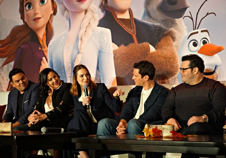 Bobby Lopez, Kristen Anderson-Lopez, Evan Rachel Wood, Jonathan Groff and Josh Gad at Frozen 2 Press Junket
