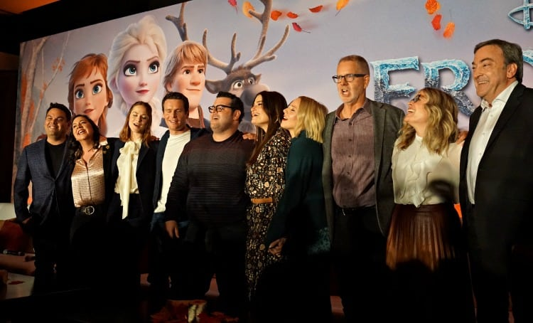Singing Heaven at the Frozen 2 press junket the Frozen 2 Cast