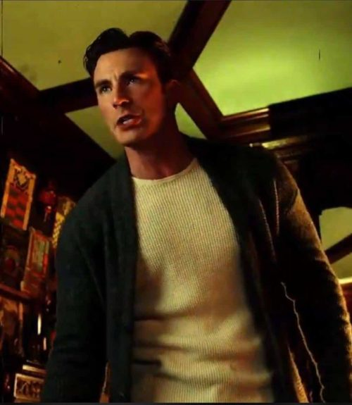 chris evans sweater cardigan knives out