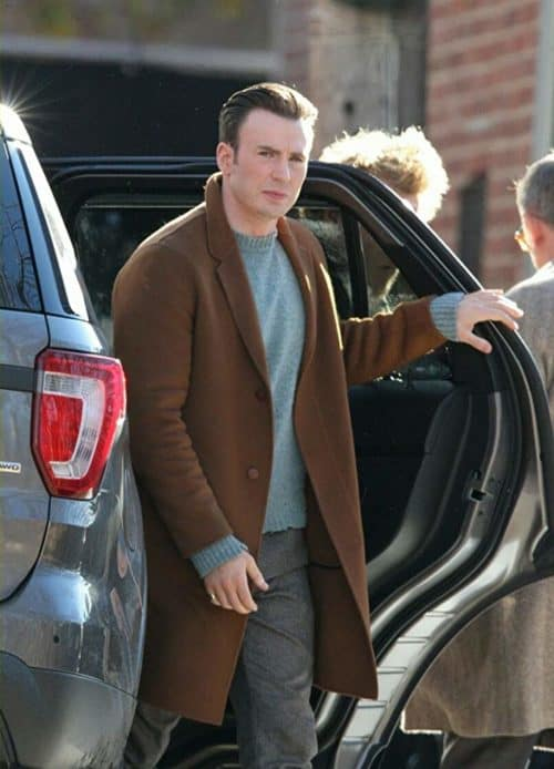 Chris evans in a blue sweater from knives out filming