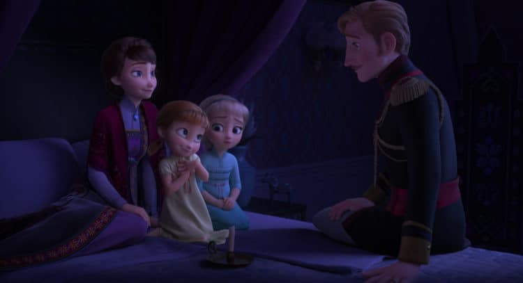 Frozen 2 parents and sisters in the bed