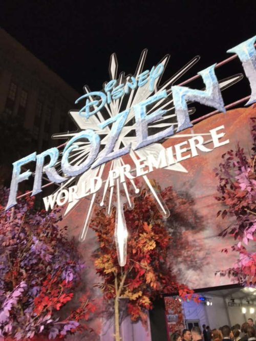 sign over the frozen 2 red carpet