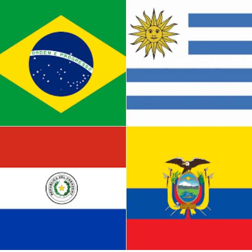 Paraguay, Brazil, Ecuador, Uruguay flags