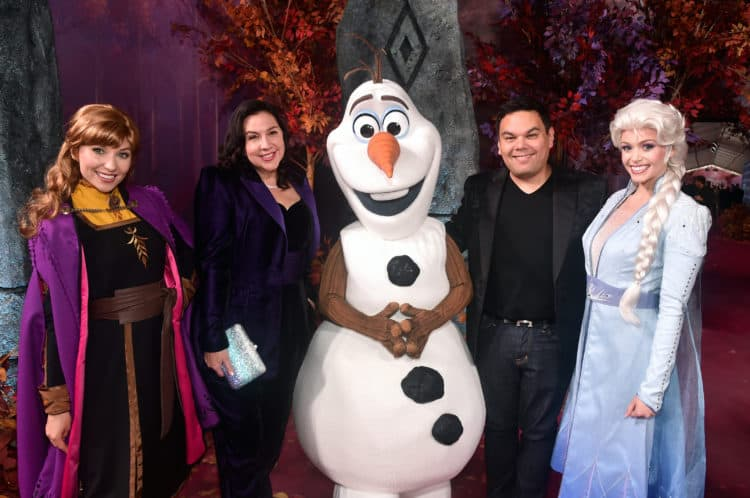 "Frozen 2 red carpet World Premiere Of Disney's ""Frozen 2"" Bobby Lopez and Kristen Anderson-Lopez plus Anna, Elsa and Olaf"