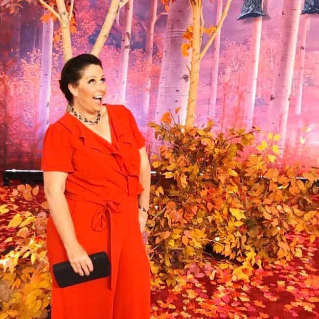 frozen 2 red carpet red jumpsuit