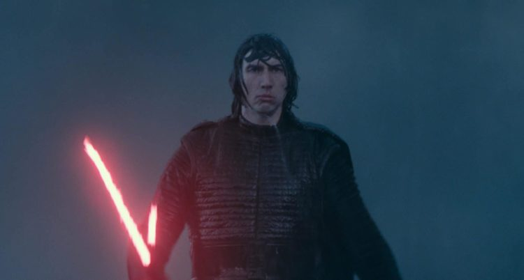 Kylo Ren with lightsaber in Rise of Skywalker kid friendly