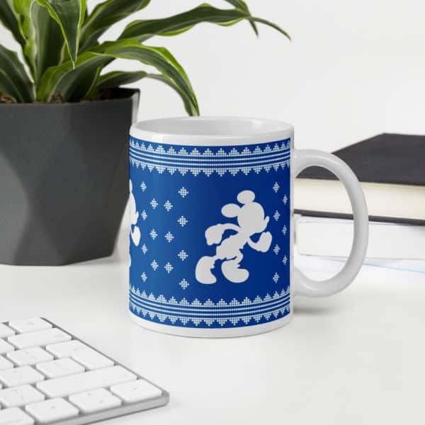 rundisney coffee mug ugly sweater running mickey on blue