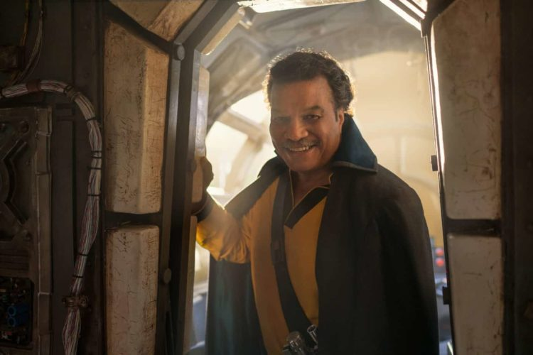 Lando Calrissian on the Falcon in a doorway. Is Rise of Skywalker <a href=