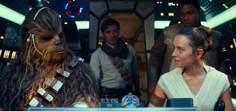 rise of skwyalker falcon crew with chewy, poe, Finn and rey