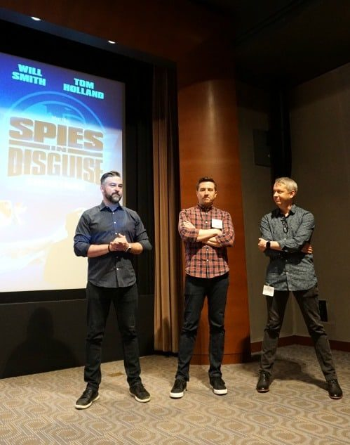 Spies in Disguise filmmakersDirectors Nick Bruno and Troy Quane and production designer Michael Knapp