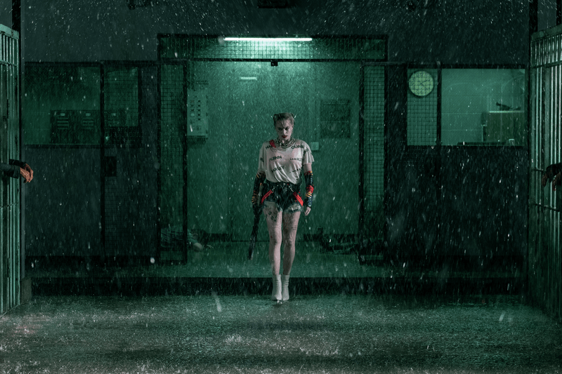 go run pee during Birds of Prey jailhouse fight scene