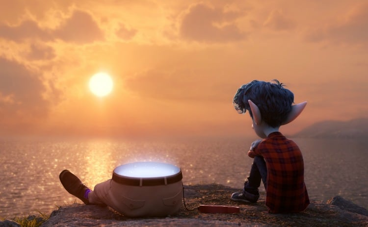 sitting at sunset with Dad and Ian Lightfoot in Onward kid-friendly movie review