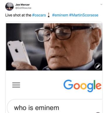who is Eminem Scorsese meme 2020 oscars
